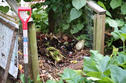 The compost pile at St. Roses Garden
