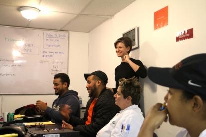 ESL works Rachael Nemeth teaching an early morning class at Citarella in the Bronx