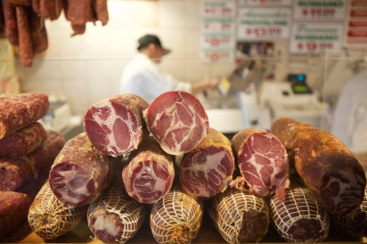 Cured meat at the Calabria Pork Store