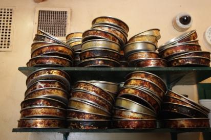 Stacks of cake pans