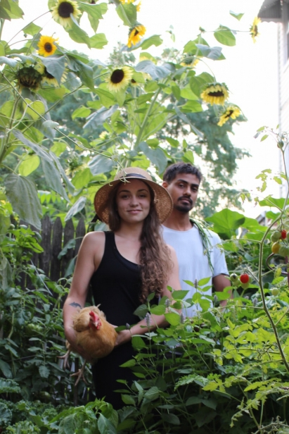 Morgen and Ejaz in their garden