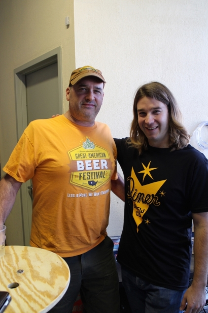 Chris Sheldon (R) owner of The Diner Brew Co in Mount Vernon