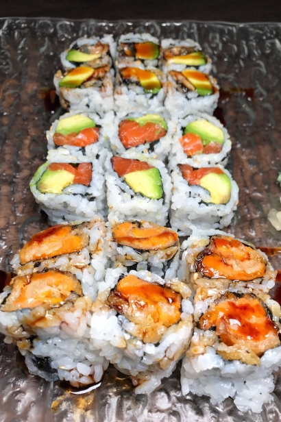 Sweet Potato roll and a classic Salmon Avocado Roll.