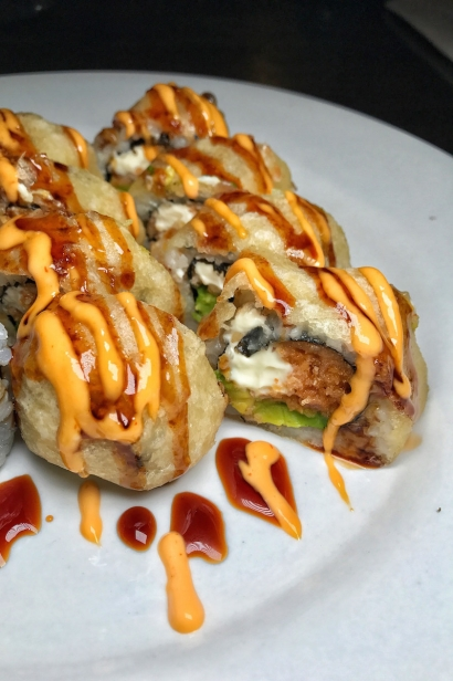 The Zombie Roll from Sugi Sushi. Tempura fried spicy tuna roll, stuffed with avocado and cream cheese.