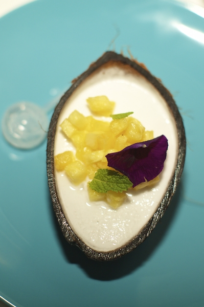 A deconstructed piña colada for dessert