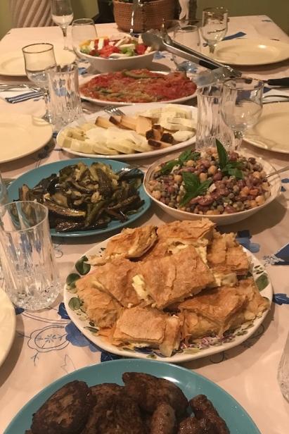 an Albanian dinner made from all garden veggies