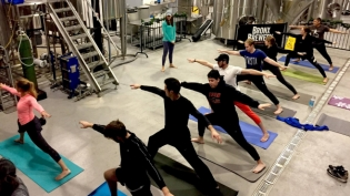 A yoga class in the Brew room at The Bronx Brewery